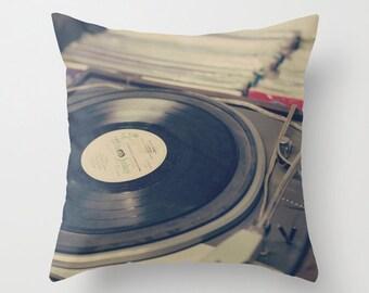 SALE Pillow cover, music art, black pillow, vintage pillow, french decor, office decor, dorm decor, love pillow, couch pillow, modern art