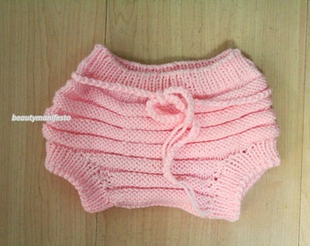 Hand Knit baby diaper--Crochet diaper cove-nappy cover-knit diaper cover-photo prop-newborn baby-choose size and color-Pink