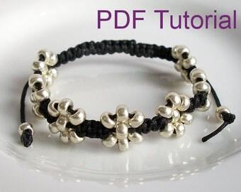 PDF Tutorial Beaded Flowers Square Knot Macrame Bracelet Pattern, Instant Download Macrame Bracelet Tutorial, DIY Seed Bead Bracelet