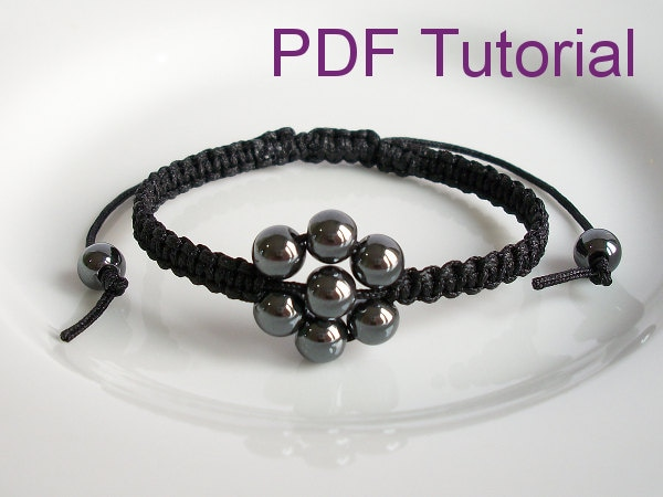 Pdf Tutorial Beaded Flower Square Knot Macrame Bracelet