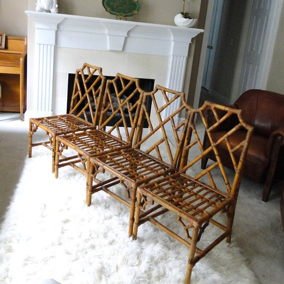 Vintage Chair Chinese Chippendale Seat In Natural Honey Bamboo