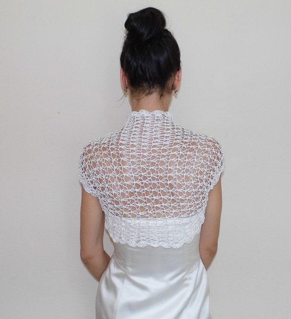 Bridal bolero jacket wedding shrug lace crochet ivory shrugs for Lace shrugs for wedding dresses