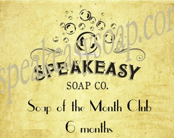 Soap of the Month Club - 6 months, Speakeasy Soap, vegan, handmade