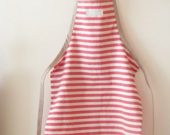 Kids apron - red and white cotton apron - reversible