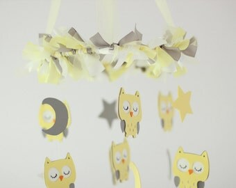 Owl Nursery Mobile in Yellow & Gray- Baby Mobile, Crib Mobile, Baby Shower Gift