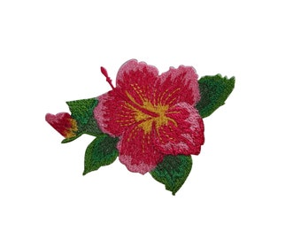 ID #6310 Red Pink Yellow Hibiscus Flower Iron On Embroidered Applique Patch