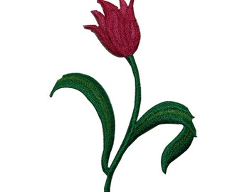ID #6334 Red Tulip Flower Garden Embroidered Iron On Applique Patch