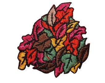 ID #7223 Multicolor Leaf Pile Fall Leaves Iron On Embroidered Patch Applique