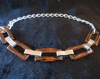 Classy Small to Medium Dog Collar - vintage metal belt - upcycled