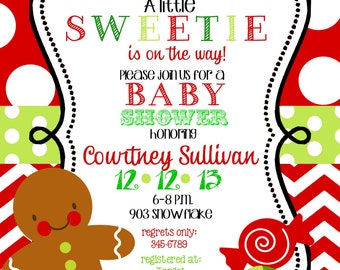 12   Christmas Holiday  Baby Shower  Invitations with envelopes -gingerbread