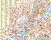 Vintage 1964 New York Map United States Map Greater New York