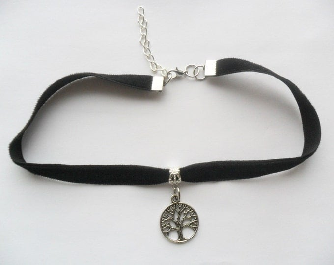 "Velvet choker with tree of life pendant and a width of 3/8"" Black Ribbon Choker Necklace (pick your neck size)"