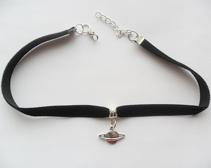 "Velvet choker necklace with Saturn Planet pendant and a width of 3/8"" BLACK Ribbon Choker Necklace(pick your neck size)"
