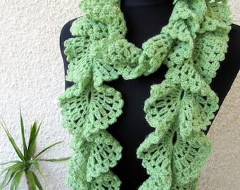 CROCHET PATTERN, Crochet Ruffle Scarf, DIY Crafts, Ruffle Scarf, Crochet Scarf Pattern, Digital Download, Lyubava Crochet Pdf Pattern No.98
