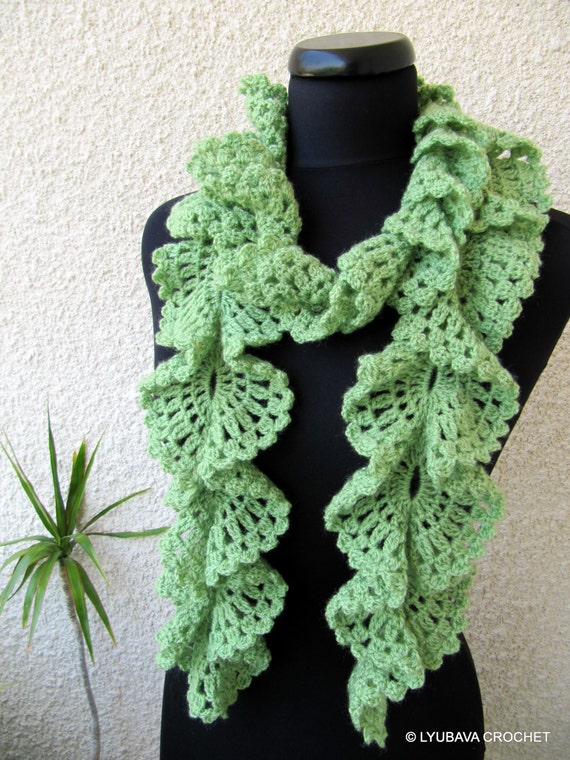 Crochet Patterns Ruffle Scarf : Crochet Ruffle Scarf PATTERN, DIY Crafts, Crochet Gifts For Her ...