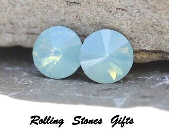 10.5mm Pacific Opal Swarovski Rivoli Rhinestone Stud Earrings-Pacific Opal Rivoli Crystal Studs-Swarovski Pacific Opal Rivoli Earrings