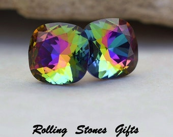 10mm Electra Swarovski Rounded Corner Square Rhinestone Stud Earrings-Rare Crystal Studs-Large Electra Crystal Earrings