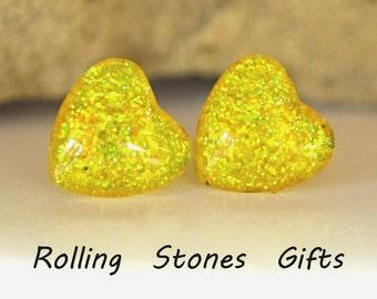 Lemon Lime 12mm Glitter Back Glass Heart Stud Earrings-Yellow Glittery Heart Stud Earrings-Large Yellow Heart Studs-Surgical Steel Studs