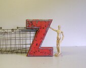 vintage sign letter, metal letter Z, painted metal letter, other letters available