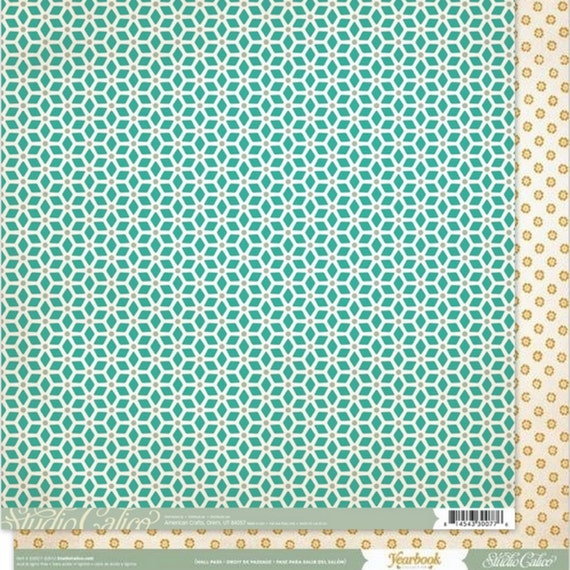 On Sale Scrapbook Paper 2 Sheets  American Crafts 12x12  Double Sided Studio Calico - Hall Pass