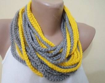 Crochet Infinity scarf chain loop scarf for her gift grey scarf handmade scarf womens gifts accessories pretty scarf