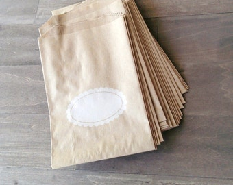 "20 Brown kraft bags - 5 x 7.5"" inches - brown kraft bags - scalloped oval bags - Middy bitty bags"