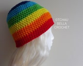Rainbow Beanie, Skullcap - Awesome Colorful Fun Ski, Snowboard Hat - Handcrafted Crochet