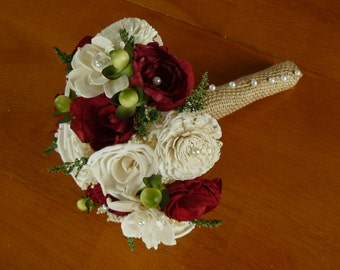 Wedding, Ivory and red Sola wood Bouquet, Wood Bouquet, Bridal Bouquet, Sola flowers, Bouquet, Handmade