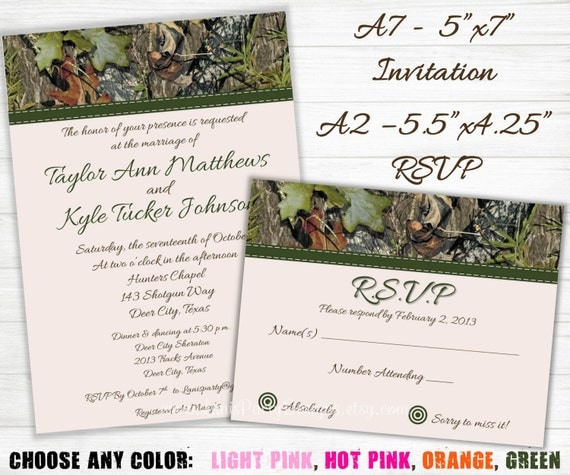 Camo Wedding Invitation: Camo Wedding Invitation And RSVP Cards Hunting Camouflage