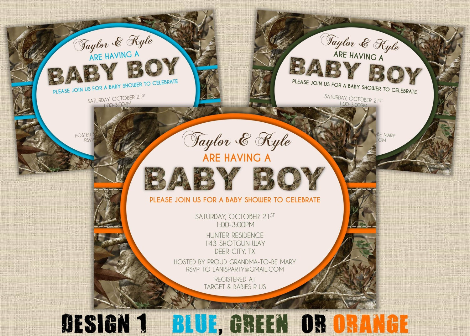 camo baby shower invitation hunting camouflage boy redneck