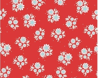 Twice as Nice by The Quilted Fish -  Riley Blake Designs - Red Petals - 1 /3 Yard Cut - Cotton Fabric