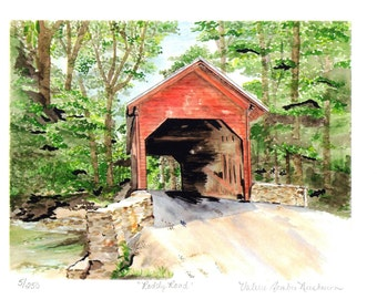 Covered Bridge Watercolor Print, Roddy Road, Thurmont, Maryland Art, Red Wooden Bridge, Summer Woods Landscape, Frederick County Home Decor