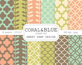Digital Paper: CORAL & BLUE, Printable Scrapbook Paper Pack, 12x12, Set of 12 Papers