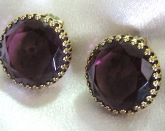 Exquisite Rare 1950's Signed Weiss Amethyst  Filigree Gold Tone Clip Earrings