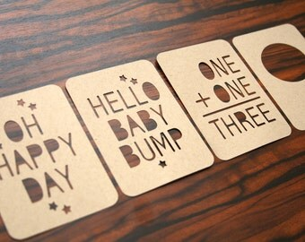 Project Life-Inspired 3x4 Journaling Cards Set - Hello Baby Bump Stars Design Kraft Cardstock