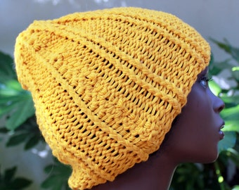 Golden Yellow, Acrylic, Hand knit, Rib knit, Slouchy, Over Sized, Chunky, Beanie, Hat for Women and Men Fall Winter