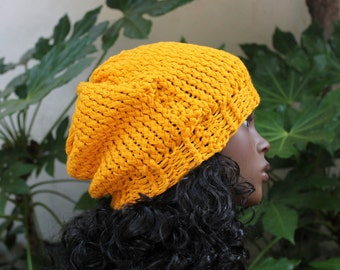 Hand Knit, Golden Yellow, Acrylic, Slouchy, Beanie Hat Woman Man Fall Winter Back to School