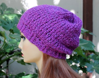 Hand Knit, Plum Purple, Slouchy, Acrylic, Beanie Hat with Two Inch Headband for Women or men, Fall, Winter, Back to School