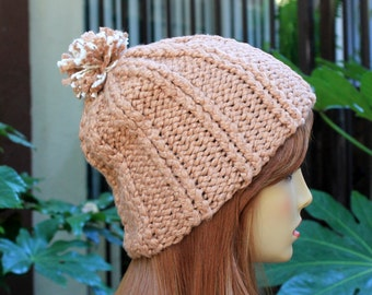 Hand Knit, 100 Percent Organic Cotton, Light Brown, Tan, Rib Knit, Beanie Hat with Small, Shaggy, Light Brown and Cream Pom Pom Woman Man