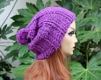 Hand Knit, Plum Purple, Slouchy, Over Sized, Rib Knit, Acrylic, Beanie Hat  for Women or Men with Medium Fluffy, Pom Pom Back to School