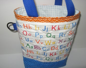 Back to school preschool tote bag, primary alphabet toddler quilted tote