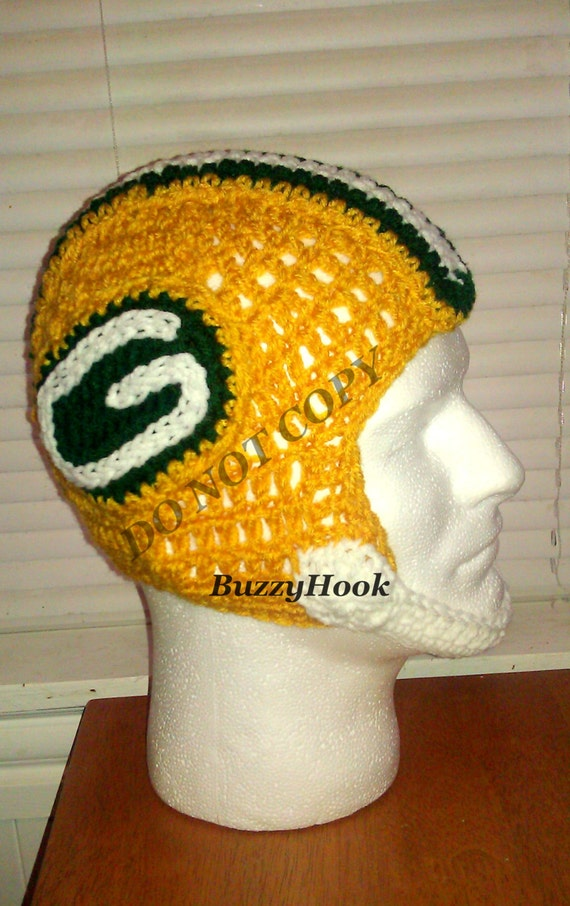Crocheted ADULT Unisex Hat Helmet Green Bay Packers Colors.