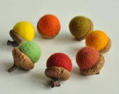 Fall felted acorns, set of 7