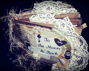 8x8 Premade Paperbag Scrapbook To the Moon and Back Wedding Couples Love Romantic Vintage Rustic