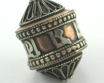 Tibetan Silver Brass & Copper Bead with Sanskrit Letters 35mm x 25mm