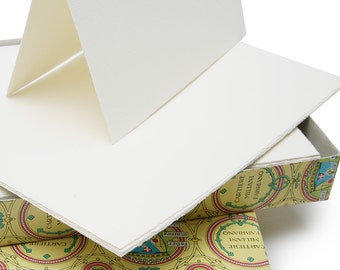 """100 Fabriano Medioevalis Italian Paper Notecards & Envelopes. Deckled Edge Mould Made, 6.75"""" x 4.5"""" cards with matching envelopes"""
