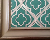 16x20 French Memo Board - Teal and White geometric
