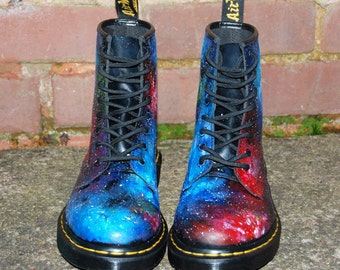 SUMMER SALE! Festival Essential Hand painted Union Jack Inspired Galaxy Space Cosmic Print Dr Martens ALL Sizes. Christmas Gift