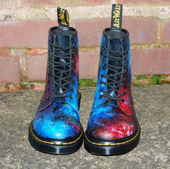 SUMMER SALE! Hand painted Union Jack Inspired Galaxy Space Cosmic Print Dr Martens ALL Sizes. Christmas Gift