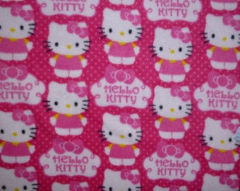 "Child/Teen Sized Hello Kitty- Hot Pink and Light Pink No Sew Fleece Blanket with Your Choice of Back- (54"" x 60"")"